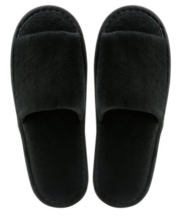 Slipper open teen zwart